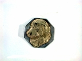 Great Pyrenees Head 14KY & Silver Octagon Ring