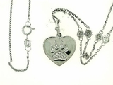 "Heart Paw B/.075 Diamond Jump Ring & 4 Diamond 20"" Chain (WG)"