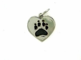 Heart Paw C161BW Tag/Rhodium Black (WG)