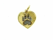 Heart Paw C161BY Tag/Rhodium White