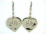 Heart Paw ER161BW Tag Lever Back Earring (WG)