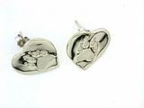 Heart Paw ER161BW Tag Post Earring (WG)