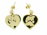 Heart Paw ER161BY Tag Ball Drop Earring