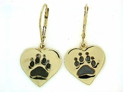 Heart Paw ER161BY Tag/Rhodium Lever Back Earring