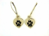 Heart Paw ER161CY Tag/Rhodium Lever Back Earring