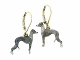 Italian Greyhound ER143Y/Rhodium Black LBD Earring