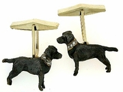 Labrador Black C040Y Field Retriever/Rhodium & 16-White D Collar & Cuff Link