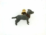 Labrador Black C040Y Field Retriever/Rhodium & 8-Rubies Collar & Lapel Pin