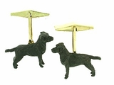 Labrador Black C040Y Field Retriever/Rhodium Cuff Link