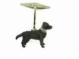 Labrador Black C284W English Retriever/Rhodium/12-White D Collar & Cognac D Eyes & Cuff Link (WG)