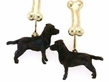 Labrador Chocolate C171Y Field Retriever/Rhodium Color/Dog Bone Cuff Link