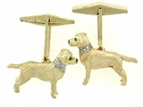 Labrador Yellow C124Y Field Retriever/Rhodium E&N & 16-White D Collar & Cuff Link