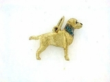 Labrador Yellow C124Y Field Retriever/Rhodium E&N & 8-Blue D Collar
