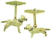 Labrador Yellow C477 Field Retriever/Collar Rhodium E&N, 2-8-White D Collar & Cuff Link