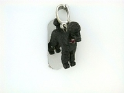Poodle C247W Puppy Cut/Rhodium Black & 5-Rubies Collar & Pearl Enhancer (WG)