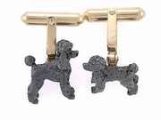 Poodle C247Y Puppy Cut/Rhodium Black & Cuff Link