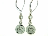 Round Paw ER162CW Tag/2-DS Lever Back Earring (WG)