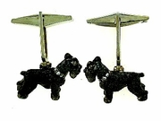 Schnauzer C249W Uncropped Ears/Rhodium Black & 2-8 White D Collar & Cuff Link (WG)