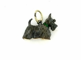 Scottish Terrier C034Y/Rhodium & 7-Emerald Collar