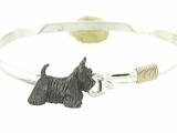 Scottish Terrier C34Y/Rhodium Black on Silver Cuff Bracelet & Gold Fill Wire