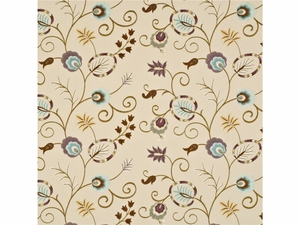 BAKER LIFESTYLES FOXWOOD EMBROIDERY FABRIC AQUA