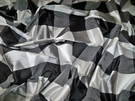 BARANZELLI SCALAMANDRE NOELI SILK CHECK FABRIC BLACK WHITE SILVER