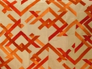 BEACON HILL ABSTRACT FRET SILK JACQUARD EMBROIDERED FABRIC CORAL
