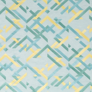 BEACON HILL ABSTRACT FRET SILK JACQUARD EMBROIDERED FABRIC PACIFIC