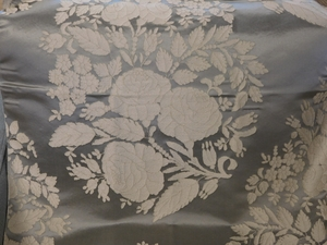 BEACON HILL AMAZON FLOWER SILK JACQUARD EMBROIDERED FABRIC PLATINUM