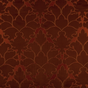BEACON HILL BLOSSOM FRAME SILK JACQUARD EMBROIDERED FABRIC SCARLET