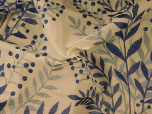 BEACON HILL CARNEGIE HILL FLORAL EMBROIDERED LINEN FABRIC INDIGO
