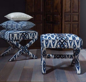 BEACON HILL CROSBY ICONIC EMBROIDERED GEOMETRIC LINEN FABRIC INDIGO