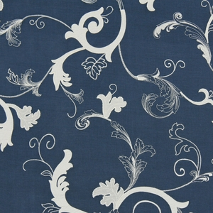 BEACON HILL ESCANABA RUSTIC EMBROIDERED LINEN FABRIC INDIGO