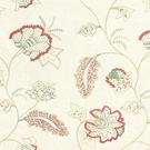 BEACON HILL FLEUR RAFFIA FLORAL EMBROIDERED LINEN FABRIC CORAL