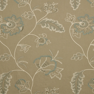 BEACON HILL FLEUR RAFFIA FLORAL EMBROIDERED LINEN FABRIC LINEN