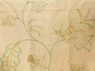 BEACON HILL FLEUR RAFFIA FLORAL EMBROIDERED LINEN FABRIC MINT