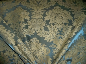 BEACON HILL GAINESBORO LOTUS MEDALLION SILK DAMASK FABRIC 13 YARDS BLUE GOLD