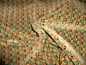 BEACON HILL MASSIMO GEOMETRIC CHECK SILK CUT VELVET FABRIC 10 YARDS AQUA BLUE BROWN ESPRESSO
