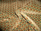 BEACON HILL GEOMETRIC CHECK SILK CUT VELVET FABRIC 10 YARDS AQUA BLUE BROWN ESPRESSO