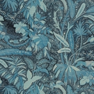 BEACON HILL LIONESS TROPICAL GARDEN ANIMAL LINEN FABRIC INIDGO