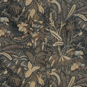 BEACON HILL LIONESS TROPICAL GARDEN ANIMAL LINEN FABRIC WALNUT