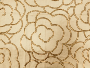 BEACON HILL MAGNOLIA PETAL FLORAL EMBROIDERED FABRIC BRASS
