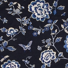 BEACON HILL PEONY KING FLORAL BUTTERFLY EMBROIDERY FABRIC NAVY