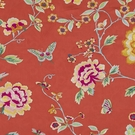 BEACON HILL PEONY KING FLORAL BUTTERFLY EMBROIDERY FABRIC SCARLET