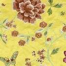 BEACON HILL PEONY KING FLORAL BUTTERFLY EMBROIDERY FABRIC YELLOW