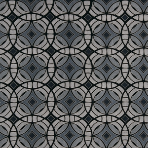 BEACON HILL PERSPECTIVE GEOMETRIC SILK JACQUARD EMBROIDERED FABRIC MIDNIGHT