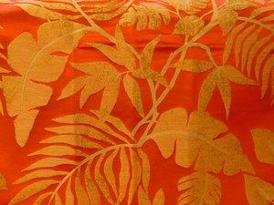 BEACON HILL POSITANO PALM SILK JACQUARD EMBROIDERED FABRIC CORAL