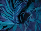BEACON HILL POSITANO PALM SILK JACQUARD EMBROIDERED FABRIC NAVY
