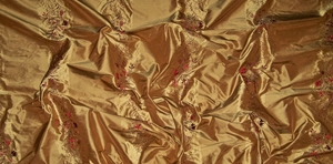 BEACON HILL ROBERT ALLEN AURA OF LUXURY EMBROIDERED SILK STRIPES FABRIC 10.5 YARDS