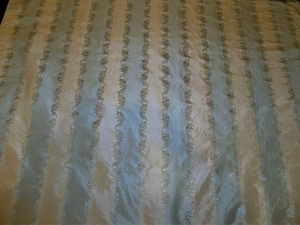 BEACON HILL ROBERT ALLEN PREMIERE SILK LISERE STRIPES FABRIC 10.5 YARDS BLUE CREAM
